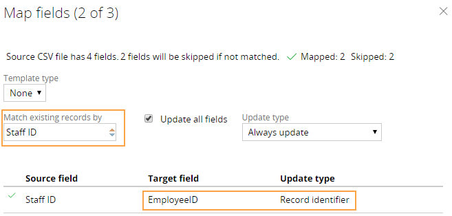 Default field mapping at run time