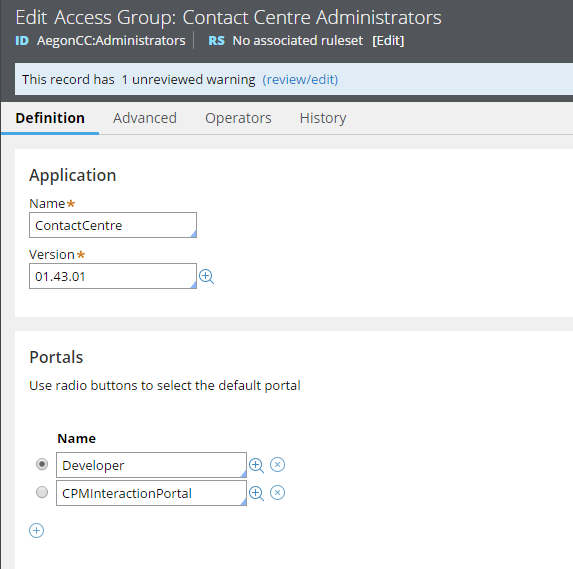 Configure access group